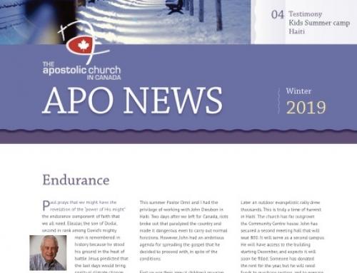 The Apostolic Church in Canada Winter 2019 Newsletter